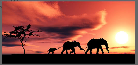 elephant-family-african-sunset-modern-landscape-canvas44x201d
